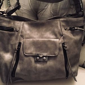 NWOT NICOLE MILLER Pewter Gray Faux Leather Bag
